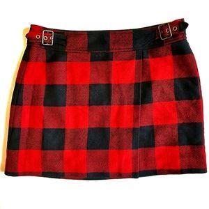 Gap Buffalo Check Plaid Mini Skirt Red Black 6